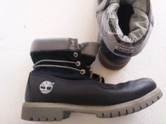 TIMBERLAND Rolltop LEATHER Boots - Mens Size 8M - Black/Gray = Free USA Ship