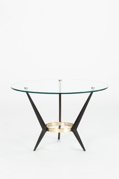 Angelo Ostuni; Brass, Enameled Metal and Glass Coffe Table for Frangi Milano, 1950s.