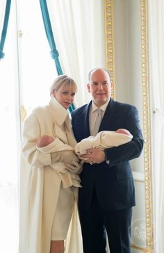Prince Albert II and Princess Charlene during the presentation of Prince Jacques and Princess Gabriella 8 January 2015