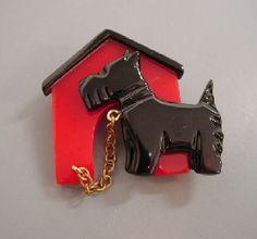 Cute Shultz Bakelite Scottie dog and doghouse brooch