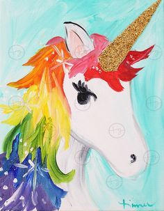 New painting ideas on canvas for beginners winter ideas Unicorn Kids, Unicorn Art, Kids Canvas, Canvas Art, Painting For Kids, Art For Kids, Kunst Party, Art Picasso, Unicorn Painting