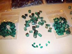 Cache of emeralds recovered from the 1622 wreck of the Spanish galleon Nuestra Señora de Atocha on July 20, 1985. I get a kick that there are so many gems in the zip lock bags.