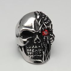 Men's Stainless Steel Terminator Ring with red cubic zirconia on sale for $22.60 at www.tinamariesjewelry.com/