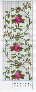 Roses and vine cross stitch pattern Cross Stitch Bookmarks, Cross Stitch Love, Cross Stitch Borders, Cross Stitch Flowers, Cross Stitch Charts, Cross Stitch Designs, Cross Stitching, Cross Stitch Embroidery, Embroidery Patterns
