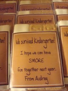 """We made it! I hope we can have s'more fun together next year! (Could reprogram for """"We survived the first day (or first week) of Kindergarten! Come back tomorrow (or Monday) for s'more fun!"""")"""