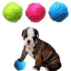 1pc Pet Cats Squeak Toys Rubber Ball Soft Dogs Puppy Kitten Chew Sound Interactive Squeaky Dependable Performance Pet Products Home & Garden