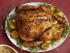 Lemon-Pepper Turkey with Bacon Gravy recipe from Food Network Kitchen. Simple, doesn't require brine time and uses basic ingredients. Provides a link to the gravy recipe.