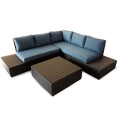La Hoya 2 Piece Sectional with Denim Blue Cushions   Weekends Only Furniture and Mattress