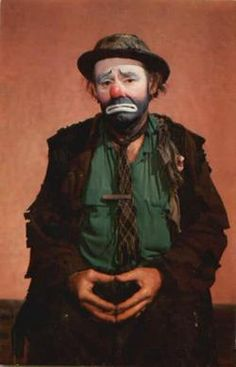 """Emmett Kelly, Sr World famous Circus Clown during the 1930s and 1940s, he best remembered for his sad-faced, silent """"Weary Willy"""" hobo clown, who as the perpetual underdog never gave up, and for his comic act of sweeping the spotlight"""
