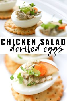 Simple, yet delicious is what we're whipping up and serving as a party appetizer: Chicken Salad Deviled Eggs puts a yummy twist on the classic recipe. We're sharing how to make chicken salad paired with deviled eggs. You can find this easy recipe down below, and plan to serve this chicken recipe at your next gathering! It's the best!! #eggs #partyfood #appetizers #chickenrecipes #deviledeggs #easterfoodideas