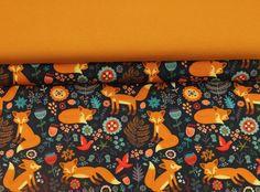 Kinderstoffe - 738 Stoffpaket Jersey Fuchs Blau Senf Türkis - ein Designerstück von my-kati bei DaWanda