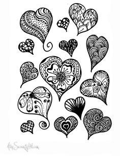 """Hearts love it ᗪ oo ᗪ ᒪ i ᑎ g """"i ᒪ o ᐯ e it"""" heart doodle, d Doodle Designs, Doodle Patterns, Zentangle Patterns, Felt Patterns, Colouring Pages, Adult Coloring Pages, Coloring Books, Heart Doodle, Zen Doodle"""