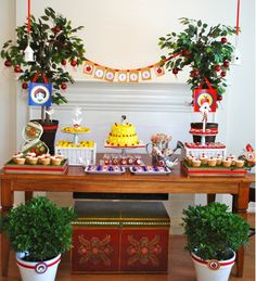 Snow White party, cake, dessert, and hors d'oeuvres table