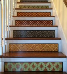 Stair Riser Panel / Alternative to Stair Riser Decals, Stair Stickers and Stair Decals / Stenciled Stair / Painted Wood Stair / Item 057 Modern Staircase, Staircase Design, Stair Design, Staircase Ideas, Foyers, Stair Stickers, Stair Decor, Stair Risers, Painted Stairs