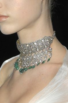 Alexander McQueen at Paris Fall 2008 - diamond and emerald choker necklace