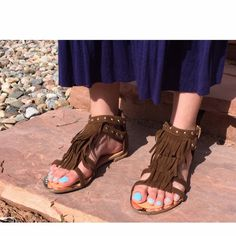 Studs & Fringe Sandals Beautiful brown sandals adorned with gold studs and fringe along the front. The gold zipper on the heel completes this boho chic look. Run true to size. New, never worn and box is included. Fast shipping. 📦✈️                  Follow Us: 💻www.AspenRise.com 💻 📷Instagram: aspenriseshoes 📷 📱Facebook: Aspen Rise 📱 💙tumblr: @aspenrise 💙 🐦Twitter: @aspenrise 🐦 Forever Shoes Sandals