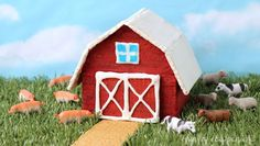 Graham cracker houses don't just have to be for the holidays. You can have fun making this Graham Cracker Barn any time of year. Writing Prompts For Kids, Kids Writing, Graham Cracker House, Barn Cake, Farm Themed Party, Vegetarian Cookies, Best Party Food, Edible Crafts, Stories For Kids
