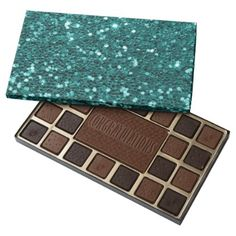 #Chic Teal Faux Glitter Assorted Chocolates - #Chocolates #Treats #chocolate