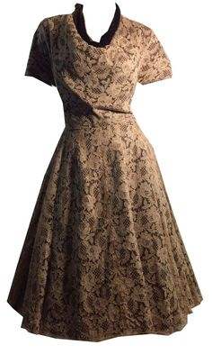 Soft Chocolate Lace Dress with Cocoa Velvet Dress circa Cocoa, Vintage Dresses, Lace Dress, Bodice, 1950s, Short Sleeve Dresses, Velvet, Chocolate, Skirts