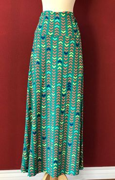 LuLaRoe Green Multi GEOMETRIC Print Maxi Skirt Size XL #LuLaRoe #Maxi