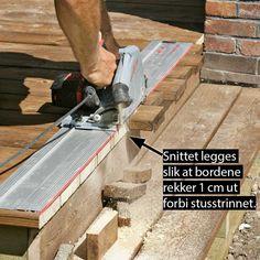 Slik bygger du terrasse med trapp - viivilla.no Wood, Crafts, Patio, Manualidades, Woodwind Instrument, Timber Wood, Trees, Handmade Crafts, Craft