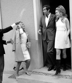 Jane Fonda and Roger Vadim, 1965 vintage fashion style mid 60s movie star wedding bride mini dress short boots unconventional looks gogo mod