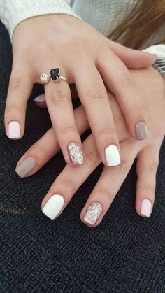 Trendy Stunning Manicure Ideas For Short Acrylic Nails .- Trendy Stunning Manicure Ideas for Short Acrylic Nails Design … nail - Cute Acrylic Nails, Acrylic Nail Designs, Cute Nails, Cute Shellac Nails, Shellac Designs, Smart Nails, Cute Nail Colors, Shellac Manicure, Glam Nails