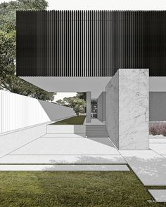 Image may contain: grass, outdoor and architecture 3d Architecture, Architecture Graphics, Modern Family House, Divider Design, Cool House Designs, Interior Design Living Room, Landscape Design, Behance, Adobe Photoshop