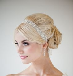 ribbon headband with pearls & rhinestones..so pretty!!! and I was able to make mine!