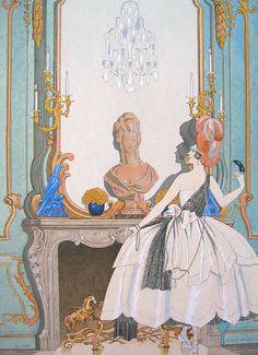 George Barbier, Mademoiselle Sorel en Grand Habit, 1921