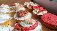 Cupcakes for red and gold themed wedding.  Available @ Nel's Cake Boutique