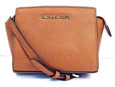 MICHAEL Michael Kors Selma Luggage Brown Leather Mini Messenger #MichaelKors #MessengerCrossBody