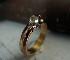 Natural Diamond Ring Size 5 Uncut Diamond by HotRoxCustomJewelry
