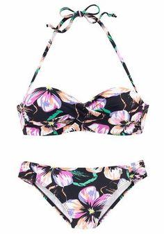 #S.Oliver #RED #LABEL #Damen #Beachwear #Bügel #Bandeau #Bikini #mischfarben / #schwarz Bikinis von s.Oliver RED LABEL Beachwear mit Flowerprint. Wattiertes Top mit eingearbeiteten Bügeln, herausnehmbaren Kissen und seitlichen Stäbchen für ein schönes Dekolleté und perfekten Halt. Abnehmbare Träger, im Nacken zu binden. Top im Rücken zu schließen. Seitlich geraffte Hose.