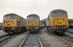56034, 56025 and 56022 Knottingley Depot on 17th May 1981. 56034 was built at Doncaster Works and delivered on 25th Aug 1977. Named 'Castell Ogwr/Ogmore Castle' on 31st May 1985. Withdrawn on 30th June 2005 and cut up at CF Booth's, Rotherham on 30th Nov 2007.