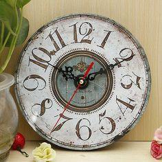 Large Vintage Antique Digital Wall Clock Shabby Chic Kitchen Retro Home Decor in Home, Furniture & DIY, Clocks, Wall Clocks | eBay