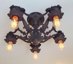 Antique Semi Flush Chandelier, Rewired, c1910's, Charcoal Black, Ready to Install