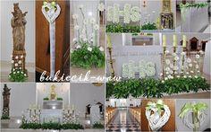 bukiecik-waw, florystyka ślubna i komunijna: Dekoracje komunijne kościołów Communion, Floral Arrangements, Wreaths, Table Decorations, Flowers, Furniture, Beautiful, Design, Home Decor