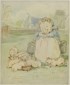 "Beatrix Potter - ""YUS, YUS!' SIGHED AUNT PETTITOES. 'AND THEY DRINK BUCKETS FULL OF MILK"" Source: Sotheby's.com"