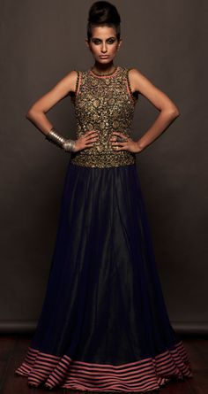 Blue and olive green double layered gown available only at Pernias pop-up shop.