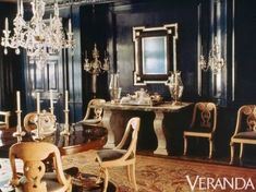 Black dining room by Albert Hadley from 1990 is still oh so. (The Foo Dog Ate My Homework) Albert Hadley, American Interior, Black Rooms, Dark Walls, Interior Decorating, Interior Design, Elegant Dining, Beautiful Interiors, Black Interiors