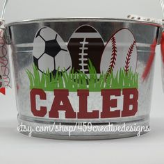 A personal favorite from my Etsy shop https://www.etsy.com/listing/266575580/boys-personalized-metal-easter-bucket