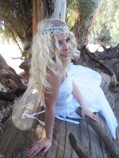 Juliet Cap Veil Bridal Boho Pearl Gold Wedding Headdress Head Band Crown lace