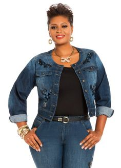 a08528e3399 Ashley Stewart Women s Plus Size Sequin Denim Jacket Indigo 12 Ashley  Stewart