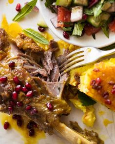 This Persian Lamb Shank recipe is a traditional Persian dish - lamb shanks slow cooked in an aromatic broth until fall apart tender. It's simply incredible! Adapt to AIP Lamb Shanks Slow Cooker, Braised Lamb Shanks, Iranian Cuisine, Iranian Food, Persian Lamb Shank Recipe, Lamb Recipes, Healthy Recipes, Dinner Recipes, Lamb Dinner