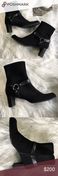 Stuart Weitzman Harness Moto Boot Size 10 M Excellent condition!  Worn one time in the fall basically to and from the car and in the office,  never exposed to rain or snow.  Size 10.  No damage to report.  Please see photos.  Black mid calf harness Moto boots. Stuart Weitzman Shoes Combat & Moto Boots