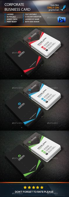 Corporate business card . This Card download contains 300 dpi print-ready CMYK 6 psd files. All main elements are editable and cus