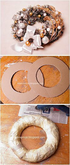 Как сделать рождественский венок на картонной основе.