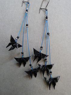 3 Black Butterfly Origami earrings.