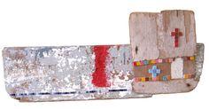 Barca crociata legno di recupero, mosaico in vetro, smalti